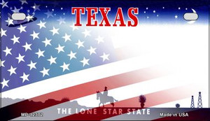 Texas with American Flag Wholesale Novelty Metal Motorcycle Plate MP-12372
