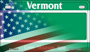 Vermont with American Flag Wholesale Novelty Metal Motorcycle Plate MP-12374