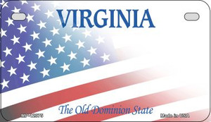 Virginia with American Flag Wholesale Novelty Metal Motorcycle Plate MP-12375