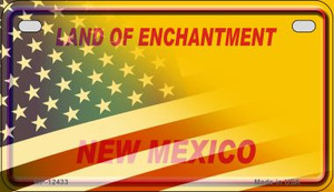 New Mexico with American Flag Wholesale Novelty Metal Motorcycle Plate MP-12433