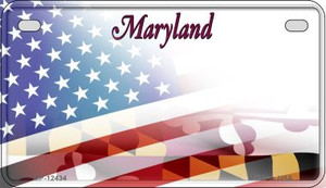 Maryland with American Flag Wholesale Novelty Metal Motorcycle Plate MP-12434