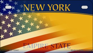 New York with American Flag Wholesale Novelty Metal Motorcycle Plate MP-12441