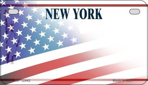 New York with American Flag Wholesale Novelty Metal Motorcycle Plate MP-12442
