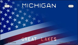 Michigan with American Flag Wholesale Novelty Metal Motorcycle Plate MP-12449