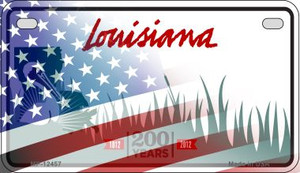 Louisiana with American Flag Wholesale Novelty Metal Motorcycle Plate MP-12457