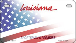 Louisiana with American Flag Wholesale Novelty Metal Motorcycle Plate MP-12458