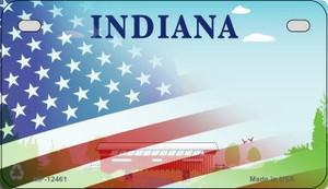 Indiana with American Flag Wholesale Novelty Metal Motorcycle Plate MP-12461