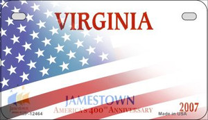 Virginia with American Flag Wholesale Novelty Metal Motorcycle Plate MP-12464