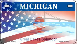 Michigan with American Flag Wholesale Novelty Metal Motorcycle Plate MP-12467