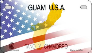 Guam with American Flag Wholesale Novelty Metal Motorcycle Plate MP-12480