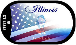 Illinois with American Flag Wholesale Novelty Metal Dog Tag Necklace DT-12342