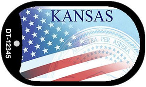 Kansas with American Flag Wholesale Novelty Metal Dog Tag Necklace DT-12345