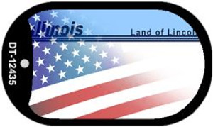 Illinois with American Flag Wholesale Novelty Metal Dog Tag Necklace DT-12435