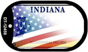 Indiana with American Flag Wholesale Novelty Metal Dog Tag Necklace DT-12459