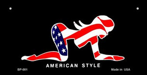 American Style Sexy Flag Pose Wholesale Novelty Metal Bicycle Plate BP-001