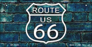 Route 66 Blue Brick Wall Wholesale Novelty Metal Bicycle Plate BP-11456