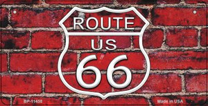 Route 66 Red Brick Walll Wholesale Novelty Metal Bicycle Plate BP-11458