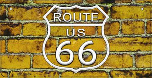 Route 66 Yellow Brick Wall Wholesale Novelty Metal Bicycle Plate BP-11459