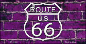 Route 66 Purple Brick Wall Wholesale Novelty Metal Bicycle Plate BP-11460