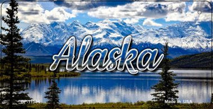 Alaska Snowy Mountains Wholesale Novelty Metal Bicycle Plate BP-11584