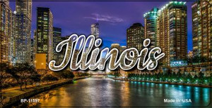 Illinois River City Lights Wholesale Novelty Metal Bicycle Plate BP-11597