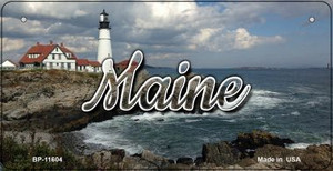Maine Lighthouse Beach Wholesale Novelty Metal Bicycle Plate BP-11604