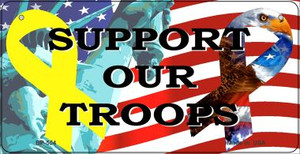 Support Our Troops Wholesale Novelty Metal Bicycle Plate BP-554