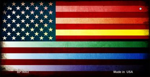 American Flag Rainbow Wholesale Novelty Metal Bicycle Plate BP-9002