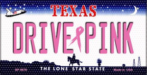 Drive Pink Texas Wholesale Novelty Metal Bicycle Plate BP-9678