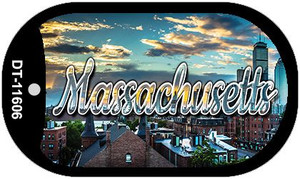 Massachusetts Sunset Skyline Wholesale Novelty Metal Dog Tag Necklace DT-11606