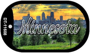 Minnesota City Skyline Sunset Wholesale Novelty Metal Dog Tag Necklace DT-11608