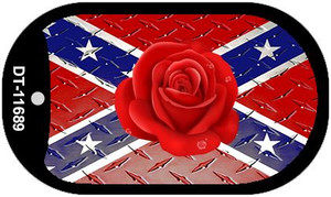 Confederate Flag With Red Rose Wholesale Novelty Metal Dog Tag Necklace DT-11689