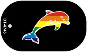 Dolphin Rainbow Wholesale Novelty Metal Dog Tag Necklace DT-4745