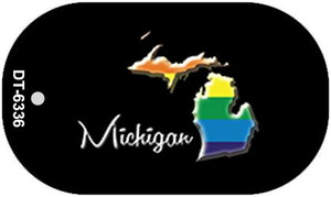 Michigan Rainbow State Wholesale Novelty Metal Dog Tag Necklace DT-6336