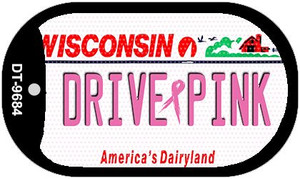 Drive Pink Wisconsin Wholesale Novelty Metal Dog Tag Necklace DT-9684