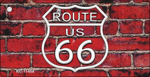 Route 66 Red Brick Wall Wholesale Novelty Metal Key Chain KC-11458