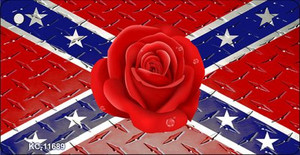 Confederate Flag With Red Rose Wholesale Novelty Metal Key Chain KC-11689