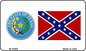 Confederate Flag Texas Seal Wholesale Novelty Metal Magnet M-10885