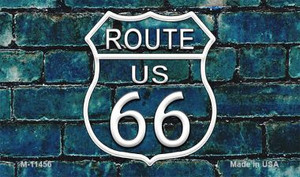 Route 66 Blue Brick Wall Wholesale Novelty Metal Magnet M-11456