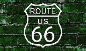 Route 66 Green Brick Wall Wholesale Novelty Metal Magnet M-11457