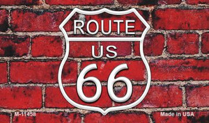 Route 66 Red Brick Wall Wholesale Novelty Metal Magnet M-11458