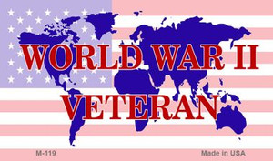 WW2 Veteran With American Flag Wholesale Novelty Metal Magnet M-119