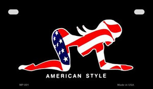 American Style Sexy Flag Pose Wholesale Novelty Metal Motorcycle Plate