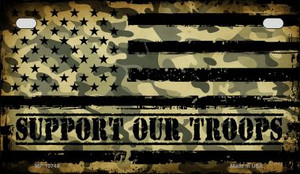 Camo American Flag Support Troops Wholesale Novelty Metal Motorcycle Plate