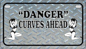 Danger Curves Ahead Wholesale Novelty Metal Motorcycle Plate