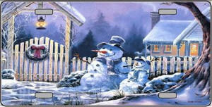 Snowmen Wholesale Metal Novelty License Plate XMAS-04