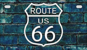 Route 66 Blue Brick Wall Wholesale Novelty Metal Motorcycle Plate MP-11456