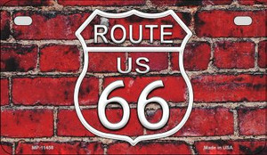 Route 66 Red Brick Wall Wholesale Novelty Metal Motorcycle Plate MP-11458
