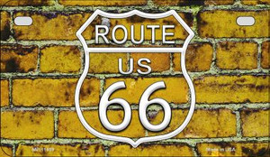 Route 66 Yellow Brick Wall Wholesale Novelty Metal Motorcycle Plate MP-11459