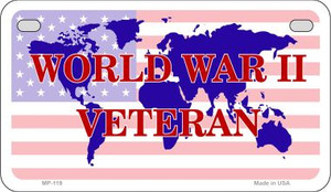 WW2 Veteran With American Flag Wholesale Novelty Metal Motorcycle Plate MP-119